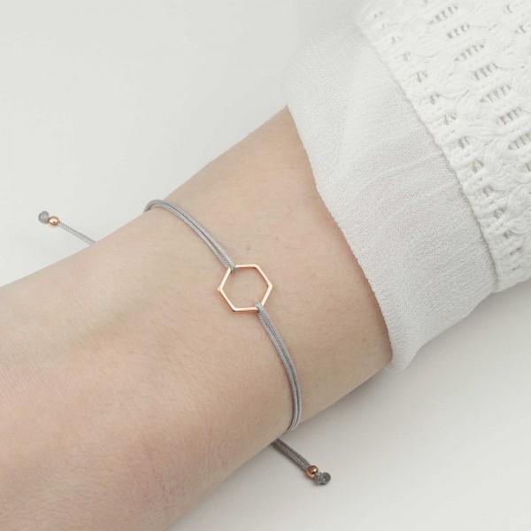 Armband Hexagon 925 Silber rosevergoldet Hellgrau-Rosegold | Schmuck Sechseck