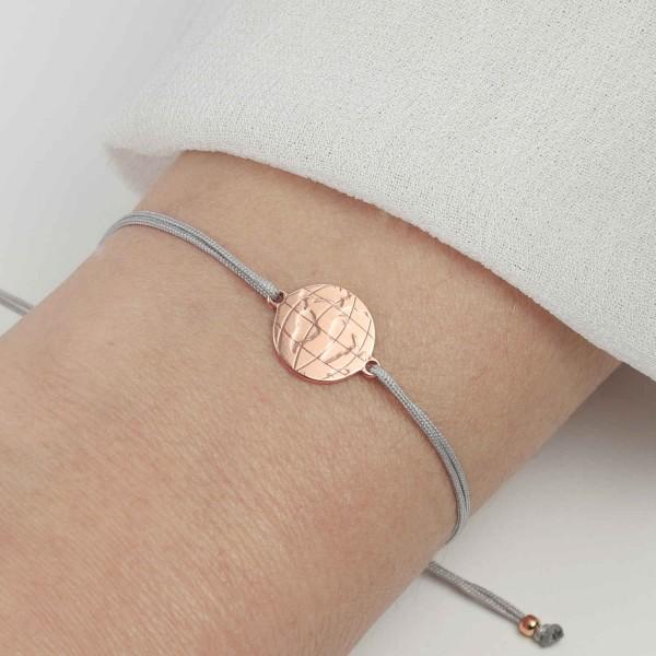 Armband Weltkarte 925 Silber rosevergoldet Hellgrau-Gold | Armband Welt Globus Weltkugel