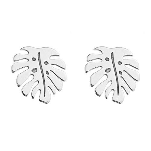 Monstera Ohrstecker 925 Silber | Blatt Ohrringe