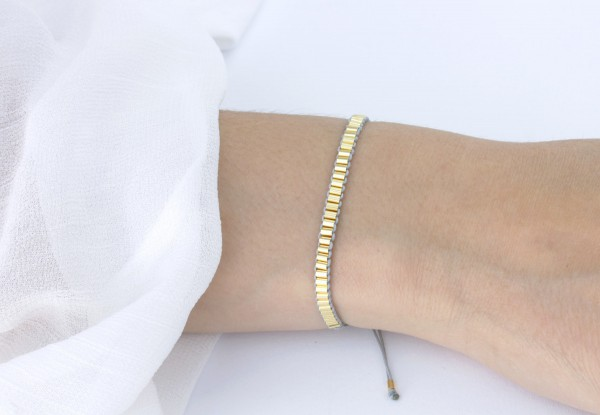 Textilarmband Tubes 925 Silber vergoldet Hellgrau-Gold