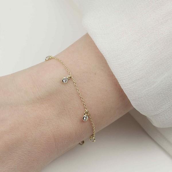 Armkette 6 Zirkonia Charms 925 Silber vergoldet