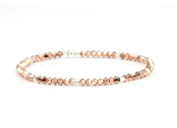 Kristallperlen Armband Rosegold-Silber