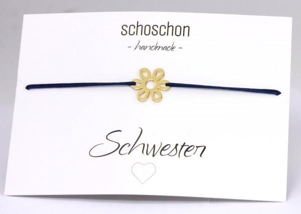 Freundschaftsarmband Gänseblümchen 925 Silber vergoldet Dunkelblau-Gold | Schmuck Blume