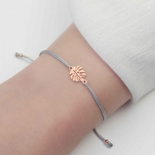 Armband Monstera Blatt 925 Silber rosevergoldet | Freundschaftsarmband Fensterblatt Philodendron