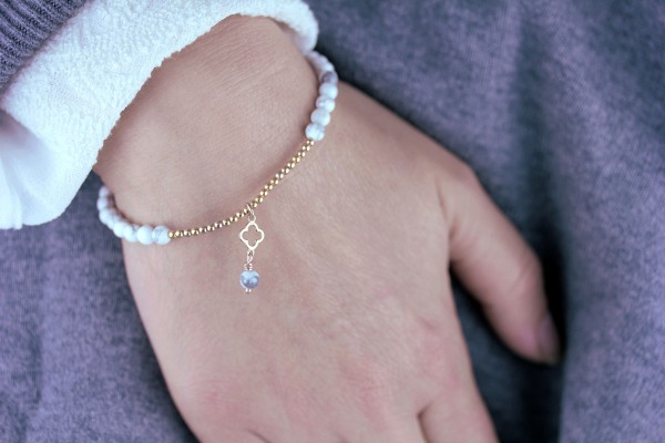 Armband Magnesit Rosegold Kleeblatt 925 Silber