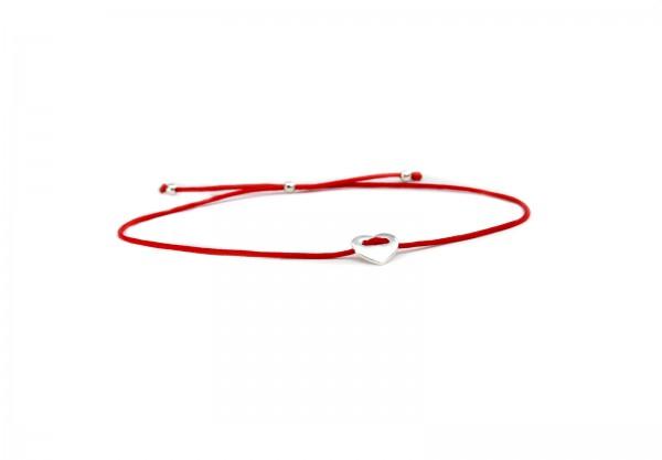 Armband Herz-Symbol in Rot-Silber, 925 Silber | Silberschmuck Liebe