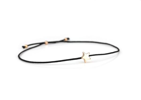 Armband Stern 925 Silber Schwarz-Rosegold dünn verstellbar   Textilarmband Sternchen