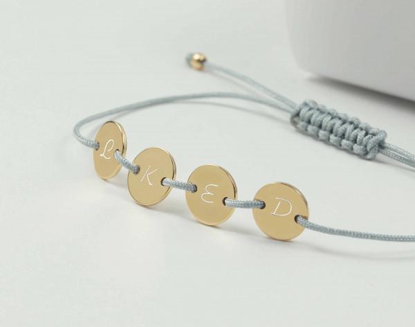 4 Plättchen Gravur Armband- personalisierbar ø 8 mm