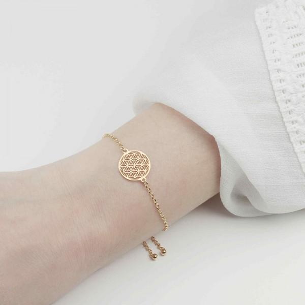 Armband Blume des Lebens 925 Silber vergoldet verstellbar / Armkette Lebensblume