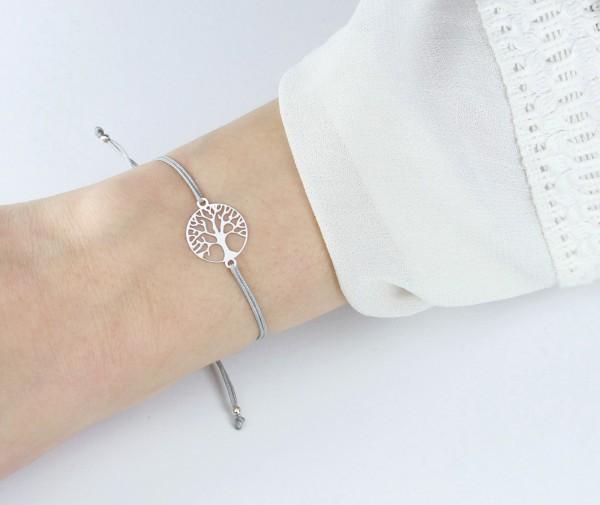 Armband Lebensbaum 925 Silber Grau | Baum des Lebens Weltenbaum Freundschaftsarmband Schmuck