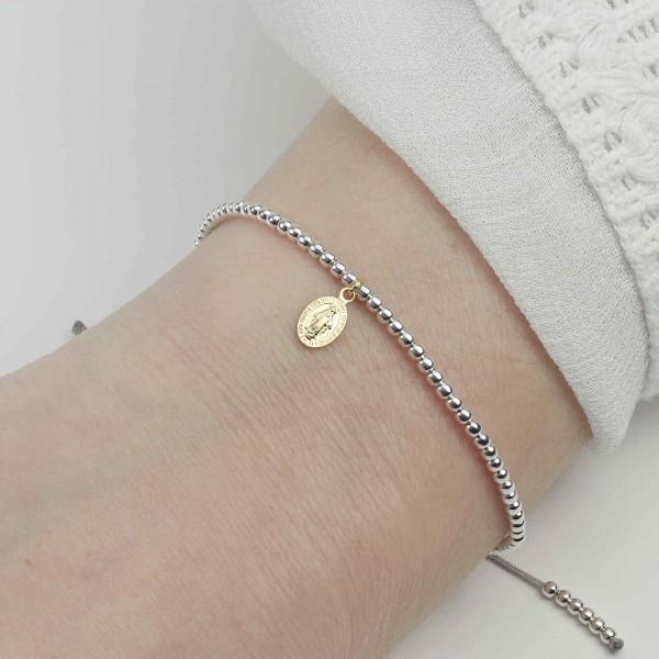 Kugelarmband Madonna Wundertätige Medaille 925 Silber teils vergoldet | Armband Jungfrau Maria