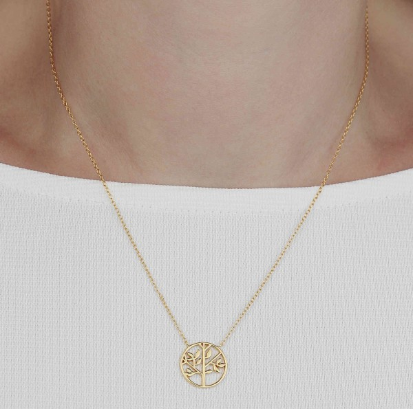Halskette Anhäger Baum 925 Silber vergoldet