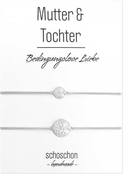 Mutter Tochter Lebensbaum Armband Set 925 Silber | Schmuck Baum des Lebens