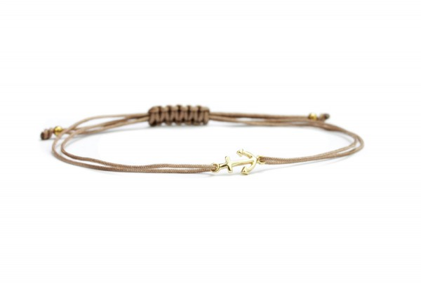 Anker Symbol Armband, Taupe-Gold