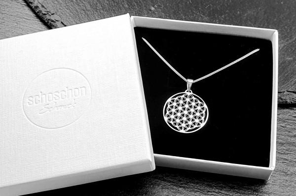 Halskette mit Blume des Lebens Anhänger 925 Silber ø 25 mm | Kette Schmuck Lebensblume Silberkette