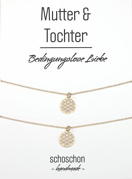 Mutter Tochter Lebensblume Halsketten Set 925 Silber vergoldet ø 12 mm | Schmuck Blume des Lebens