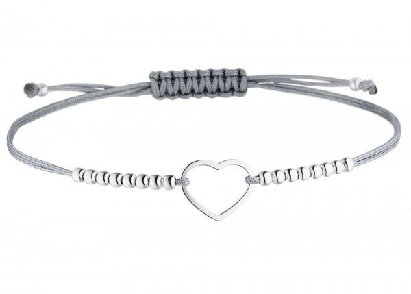 Armband Herz Silberperlen 925 Silber - Grau | Kugelarmband Liebe Freundin BFF
