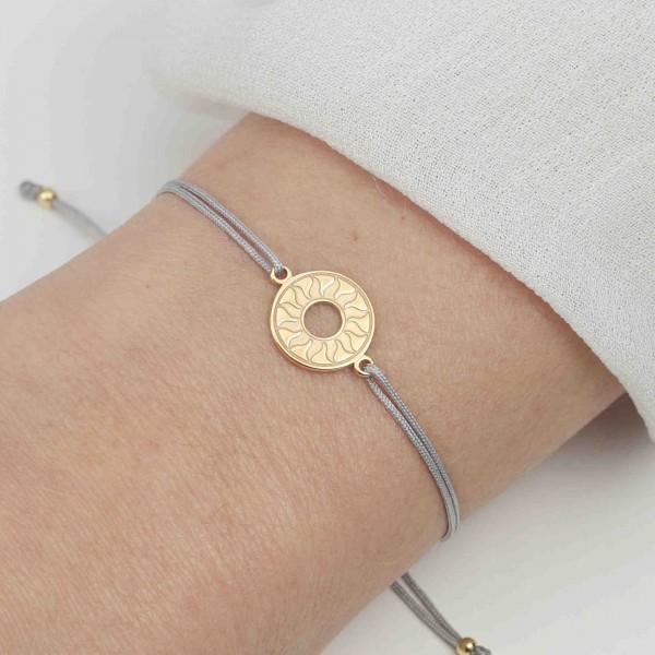 Armband Sonne 925 Silber vergoldet Hellgrau-Gold personalisierbar