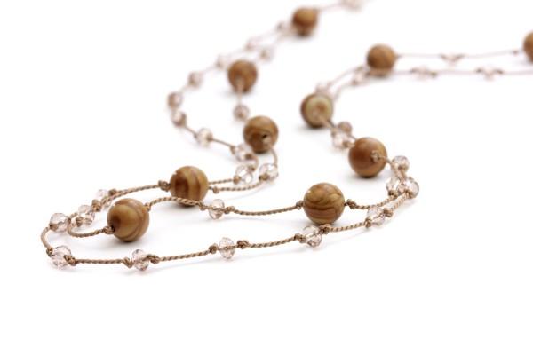 Jaspis Halskette Perlseide, Braun-Beige