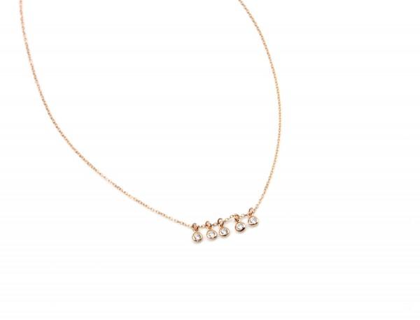 Kurze Halskette Zirkonia-Rosegold 925 Silber