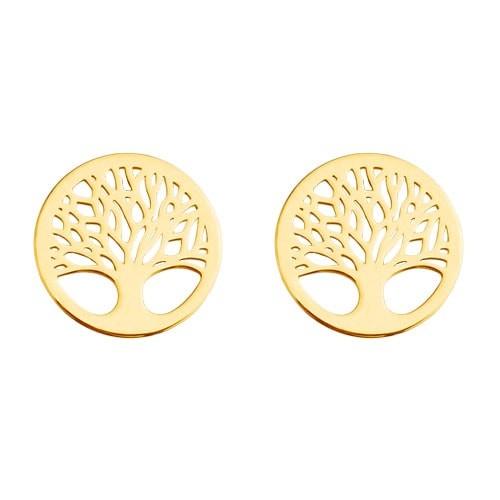 Lebensbaum Ohrstecker 925 Silber vergoldet | Baum des Lebens Ohrringe