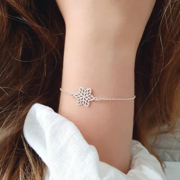 Armkette Blume 925 Silber   Blumenanhänger Blumenschmuck