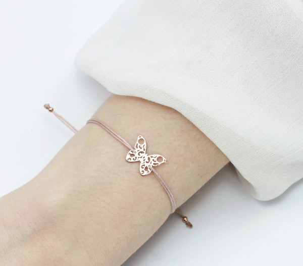 Armband Schmetterling Rosegold-Nude 925 Silber | Butterfly Charm Textilarmband Schmuck
