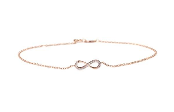 Armband Infinity 925 Silber rosevergoldet | liegende 8 Unendlichzeichen Unendlich