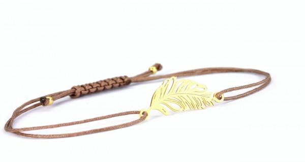 Damen Textil-Armband Feder 925 Silber vergoldet Taupe-Gold personalisierbar