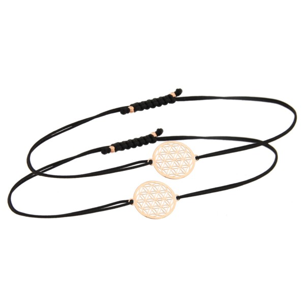 Mutter Tochter Lebensblume Armband Set 925 Silber rosevergoldet | Schmuck Blume des Lebens