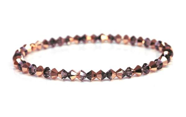 Kristallperlen Armband - Rosegold/ Grau