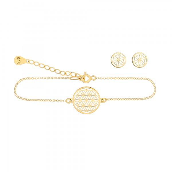 Schmuckset Blume des Lebens Armband Ohrstecker 925 Silber vergoldet | Lebensblume Schmuck Set