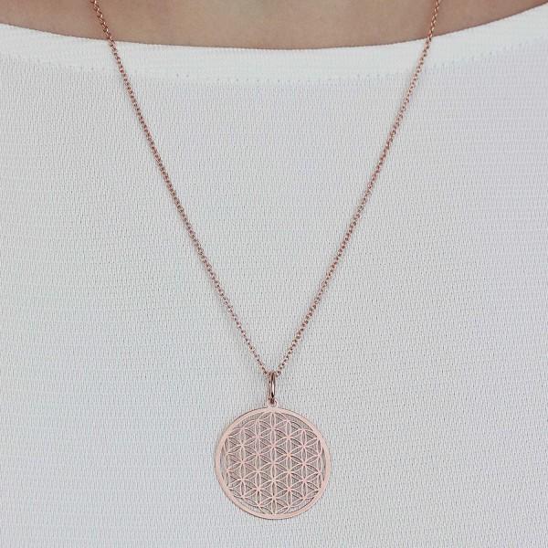 Halskette Lebensblume Anhänger 925 Silber roseveregoldet ø 25 mm | Blume des Lebens Kette Schmuck