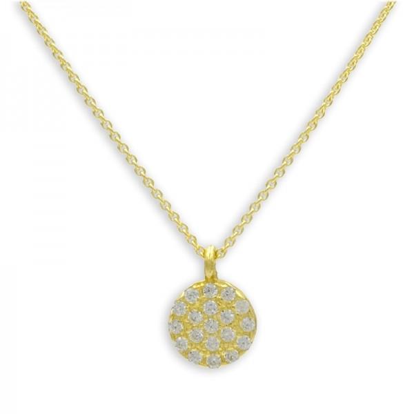 Filigrane Halskette mit Anhänger Zirkonia Kreis 925 Silber vergoldet 19 Zirkoniasteine