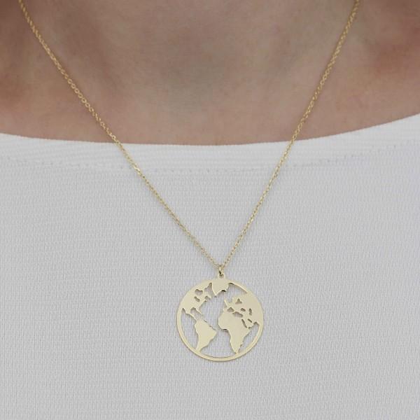 Halskette Anhäger Weltkarte 925 Silber vergoldet