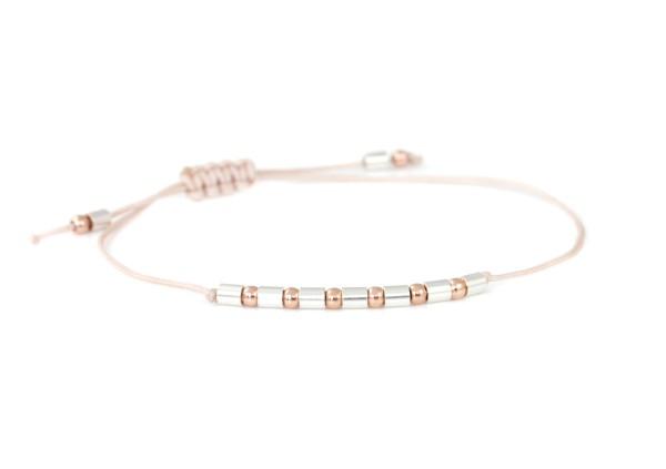 Kugelarmband 925 Silber Rose-Silber | Armband verstellbar - auch für schmale Handgelenke