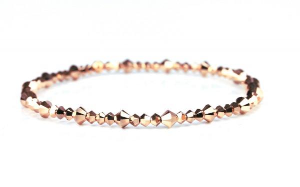 SCHOSCHON Armband Rosegold | Kristallperlen in unterschiedlichen Größen
