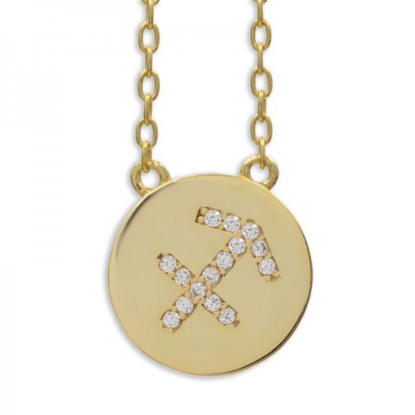 Halskette Sternzeichen Schütze Anhänger 925 Silber vergoldet 15 Zirkonia | Sagittarius Zodiac