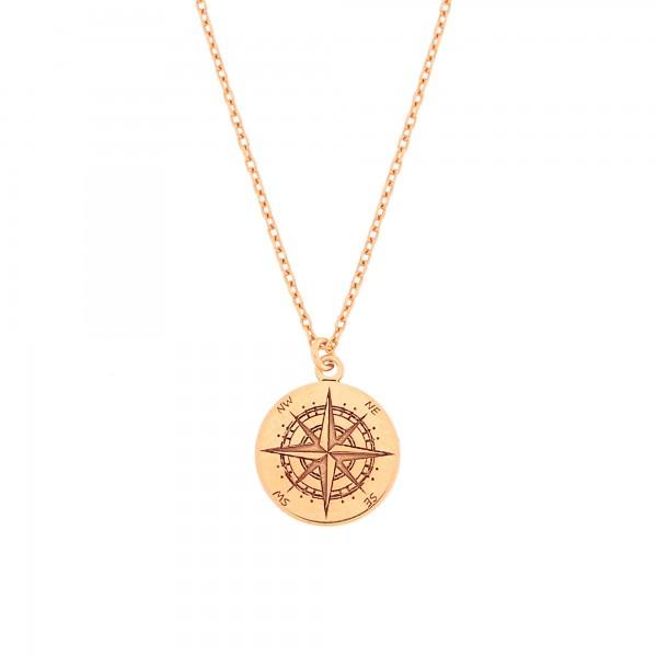 Halskette Kompass Anhänger 925 Silber rosevergoldet mini ø 12 mm / Kette Windrose Himmelsrichtungen