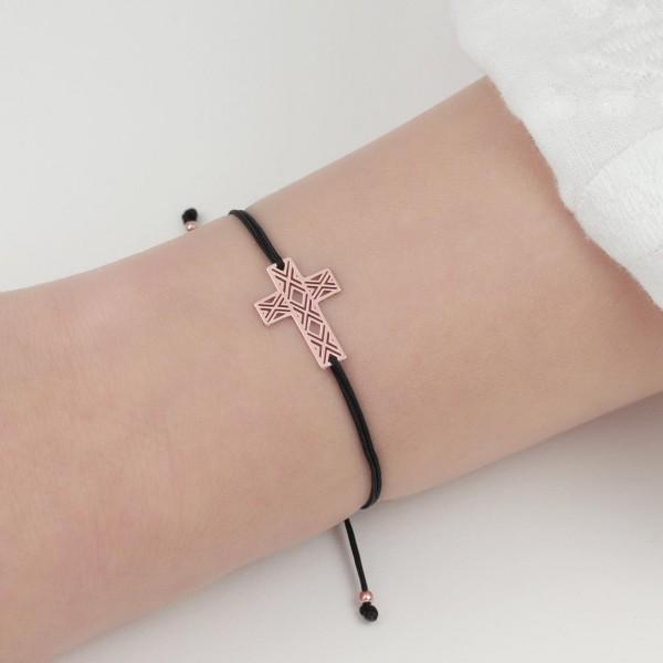 Armband Kreuz 925 Silber rosevergoldet Schwarz | Textilarmband Kruzifix Christlich personalisierbar