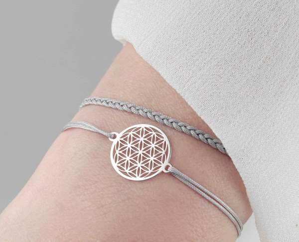 Armband Set Blume des Lebens und Geflecht 925 Silber | Lebensblume Schmuck-Set