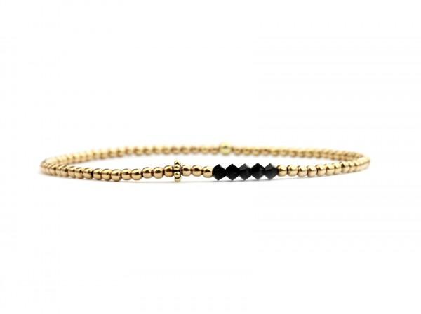 Feines Damen Armband Schwarz-Gold, 925 Silber vergoldet