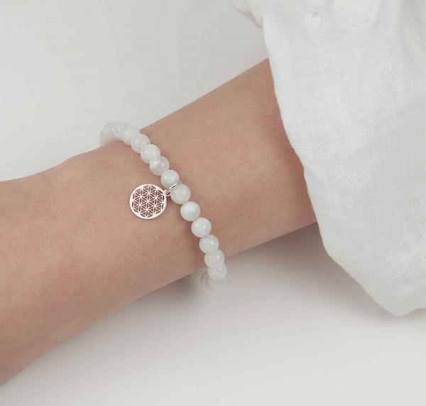 Blume des Lebens Armband Mondstein 925 Silber Weihnachten Geschenk Frauen