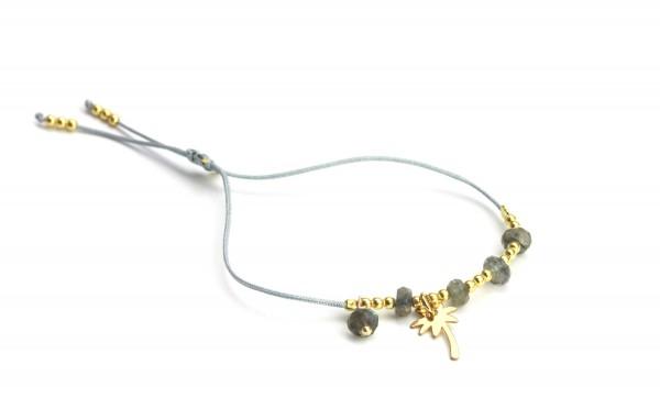 Armband Palme Labradorit 925 Silber vergoldet - Grau | Freundschaftsarmband Symbol Schmuck