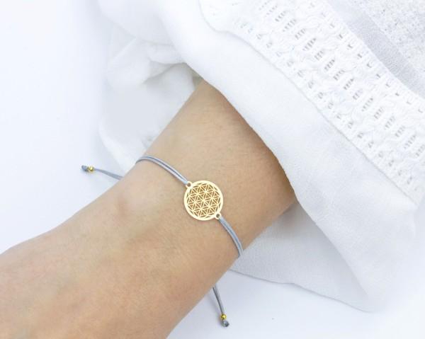 Blume des Lebens Armband, Gold-Grau, 925 Silber vergoldet, Lebensblume Schmuck