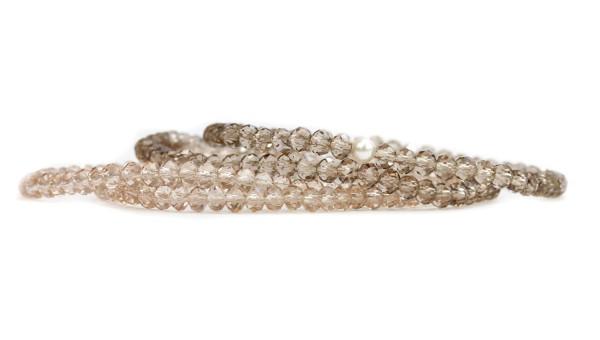 4 Armbänder Set in Braun-Beige elastisch Kristall-Glasperlen Schmuckset