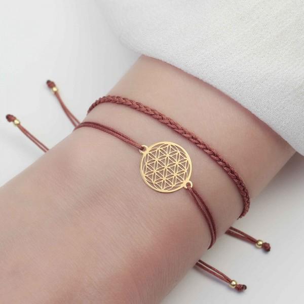 Armband Set Blume des Lebens und Geflecht 925 Silber vergoldet | Lebensblume Schmuck-Set
