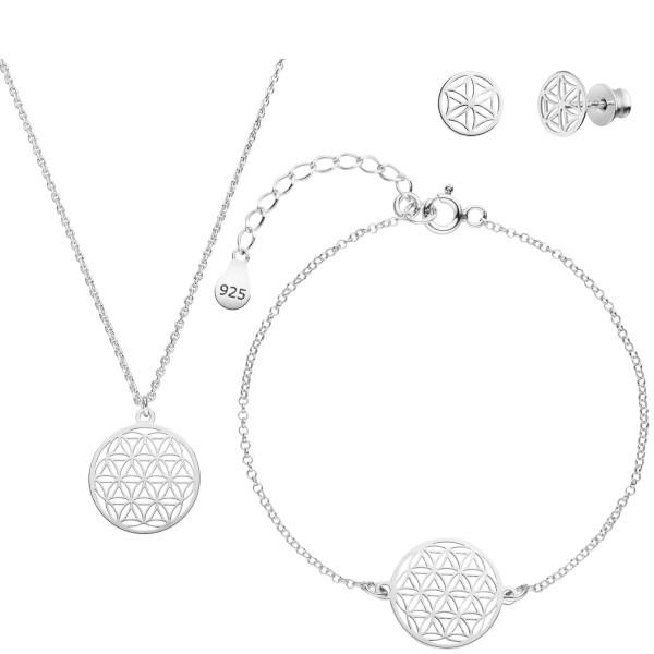 Blume des Lebens Schmuckset Halskette Armband Ohrstecker 925 Silber | Lebensblume Schmuck Set
