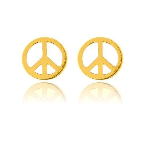 Ohrstecker Friedenszeichen Peace 925 Silber vergoldet | Hippie Ohrringe-Copy