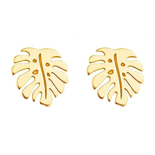 Monstera Ohrstecker 925 Silber vergoldet | Blatt Ohrringe